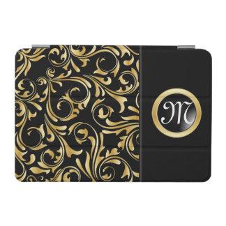 Black and Gold Florid Print iPad Mini Cover