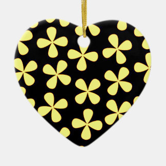 Black and gold flowers ceramic heart decoration