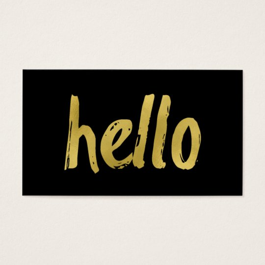 Black and Gold Foil Hello Business Cards