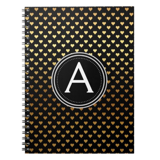 Black and Gold Foil Monogram Heart Notebook
