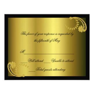 Black and gold Formal Response Card Custom Invitations
