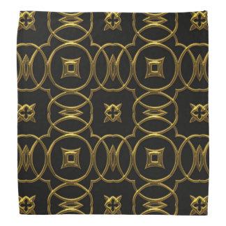 Black and Gold Geometric Pattern Shiny Elegant Bandana