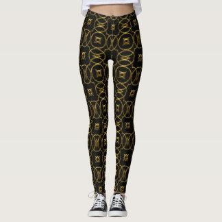 Black and Gold Geometric Pattern Shiny Elegant Leggings