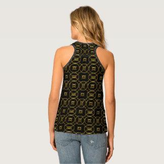 Black and Gold Geometric Pattern Shiny Elegant Tank Top