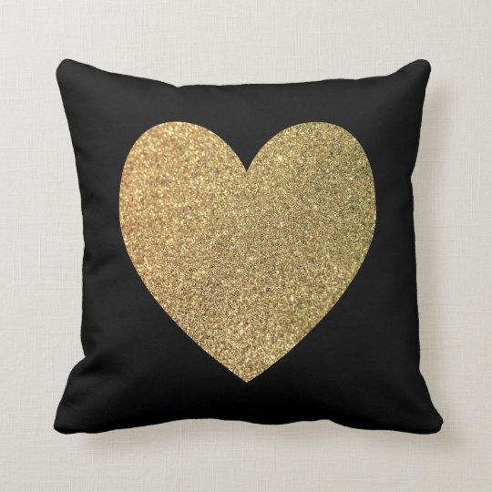 Black and Gold Giltter Photo Heart Cushion