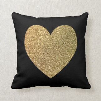 Black and Gold Giltter Photo Heart Cushion