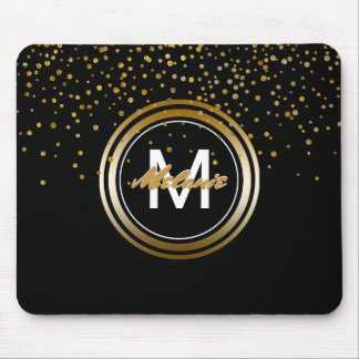 Black and Gold Glam Confetti Dots | Monogram Name Mouse Mat