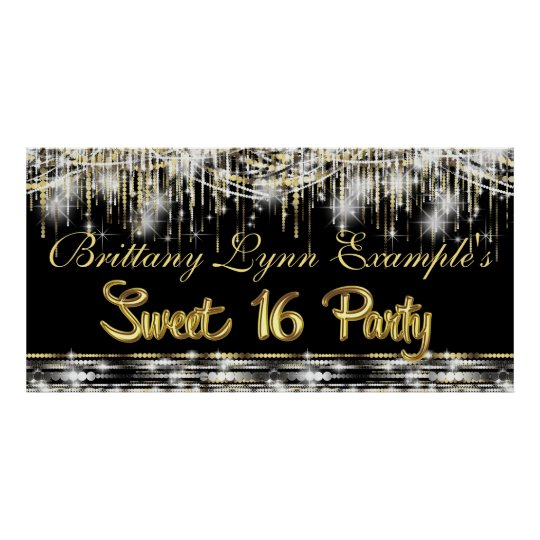 Black and Gold Glam Sweet 16 Party Banner