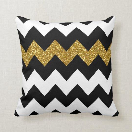 Black and Gold Glitter Chevron on White Cushion