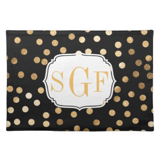 Black and Gold Glitter City Dots Placemat