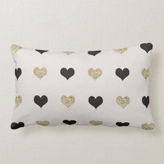 Black and Gold Glitter Hearts Throw Pillow