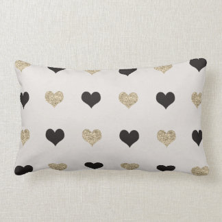 Black and Gold Glitter Hearts Throw Pillow Cushion