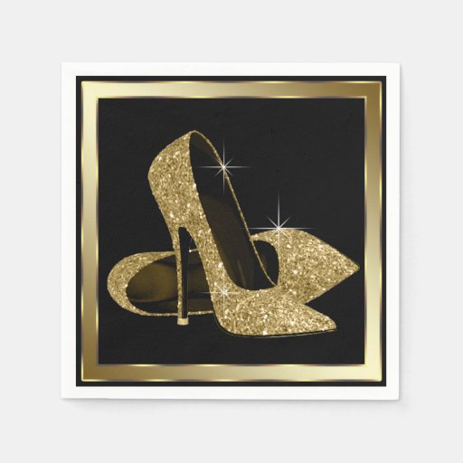 Black and Gold Glitter High Heel Disposable Napkin