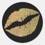 Black and Gold Glitter Lips Round Sticker