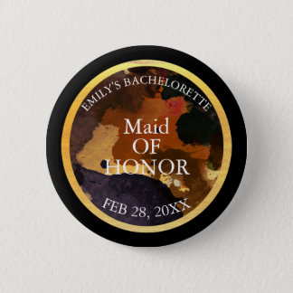 Black and Gold Glitter Maid of Honor Bachelor 6 Cm Round Badge