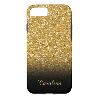 Black and Gold Glitter, Personalized with Name iPhone 8/7 Case