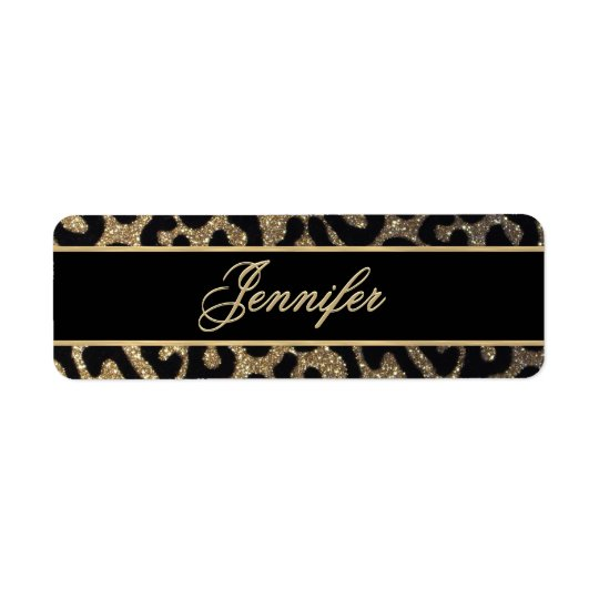 Black and Gold Glitter Return Address Label