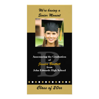 Black and Gold Graduation Announcement Personalised Photo Card