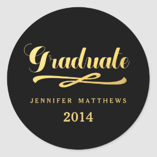 Black and Gold Graduation Round Stickers