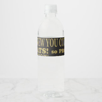 Black and Gold graduation Water Bottle Label