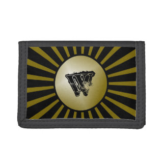 Black and Gold Grunge Monogram Boys Wallet