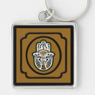Black and Gold Hamsa Keychain