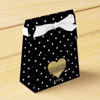 Black And Gold Heart Polka Dot Party Favour Boxes