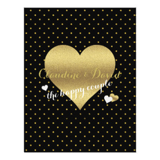 Black And Gold Heart Polka Dot Wedding Flyer