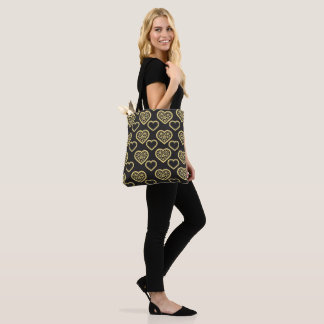 Black and Gold Hearts Pattern Tote Bag