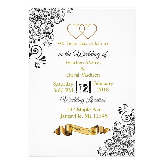 Black and Gold Hearts Wedding Invitations