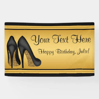 Black and  Gold High Heel Shoe Birthday Party Banner