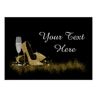 Black and Gold High Heel Shoe Birthday Party Poster