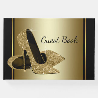 Black and Gold High Heel Shoe Guest Book
