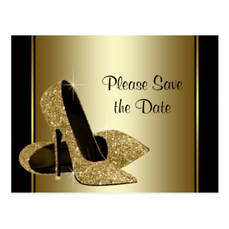 Black and Gold High Heel Shoe Save The Date Postcard