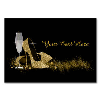 Black and Gold High Heel Shoe Table Cards