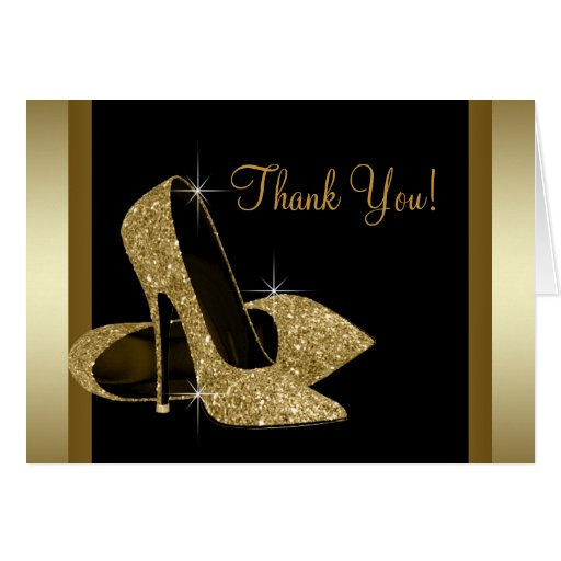 Black and Gold High Heel Shoe Thank You Greeting Cards