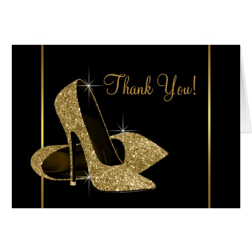 Black and Gold High Heel Shoe Thank You Cards