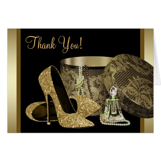 Black and Gold High Heel Shoes Thank You