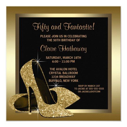 Black and Gold High Heels Womans 50th Birthday 13 Cm X 13 Cm Square Invitation Card