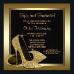Black And Gold High Heels Womans 50th Birthday Invitationbrdiv Class
