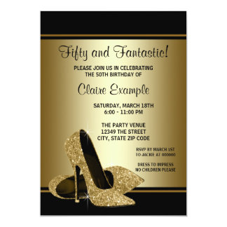 Black and Gold High Heels Womans Birthday Party 13 Cm X 18 Cm Invitation Card