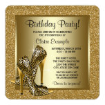 Black and Gold High Heels Womans Birthday Party Personalized Announcement