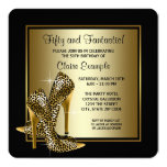 Black and Gold High Heels Womans Birthday Party Personalised Invitation