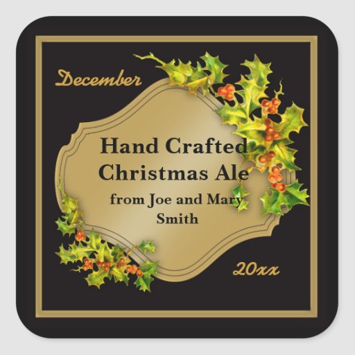 Black and Gold Holiday Beer Brewing Labels Square Stickers