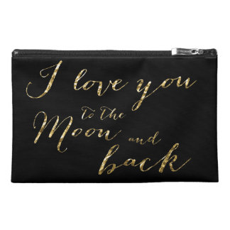Black And Gold I Love You Travel Accessory Bag