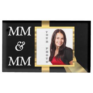 Black and gold instagram template table number holder