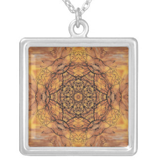 Black and gold intricut abstract design square pendant necklace