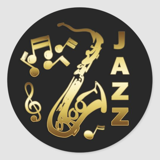 BLACK AND GOLD JAZZ CLASSIC ROUND STICKER