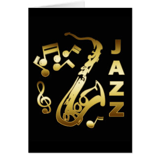 BLACK AND GOLD JAZZ GREETING CARD