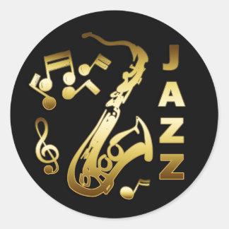 BLACK AND GOLD JAZZ ROUND STICKER